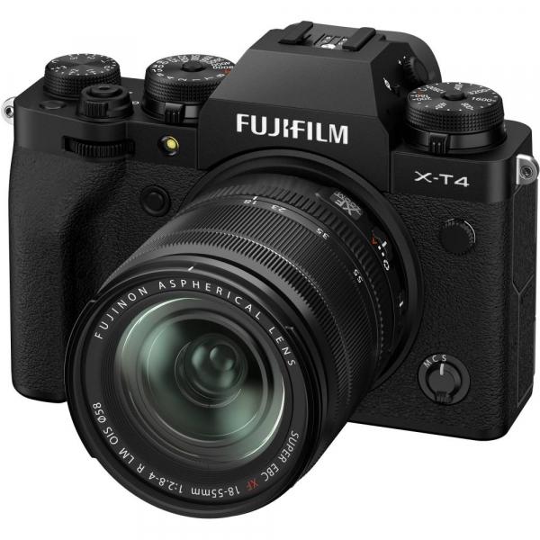 Fujifilm X-T4 Aparat Foto Mirrorless 26.1Mpx 4K/60fps X-Trans CMOS 4K KIT XF 18-55mm f/2.8-4 R LM OIS (black) si XF 16-55mm f/2.8 R LM WR 10
