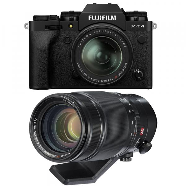 Fujifilm X-T4 Aparat Foto Mirrorless 26.1Mpx 4K/60fps X-Trans CMOS 4K KIT XF 18-55mm f/2.8-4 R LM OIS (black) si XF 50-140mm f/2.8 R LM OIS WR 0