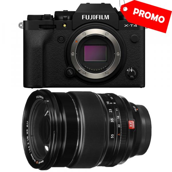 Fujifilm X-T4 Aparat Foto Mirrorless Body 26.1Mpx 4K/60fps X-Trans CMOS 4 (black) kit cu XF 16-55mm f/2.8 R LM WR 0