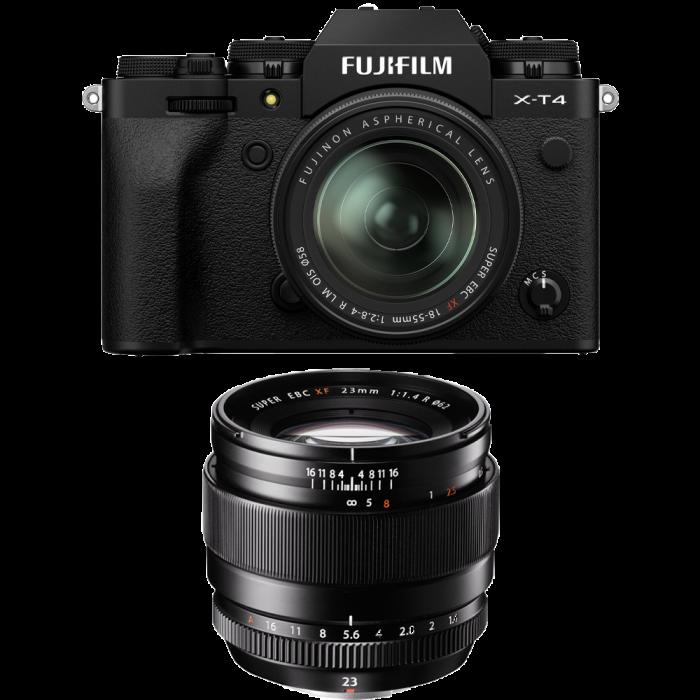 Fujifilm X-T4 Aparat Foto Mirrorless  KIT XF 18-55mm f/2.8-4 R LM OIS (black) si FUJIFILM XF 23mm f/1.4 R [0]