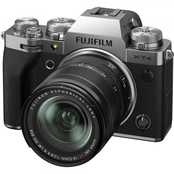 Fujifilm X-T4 Aparat Foto Mirrorless (silver) KIT  XF 18-55mm f/2.8-4 R LM OIS (black) si XF 16-55mm f/2.8 R LM WR 6