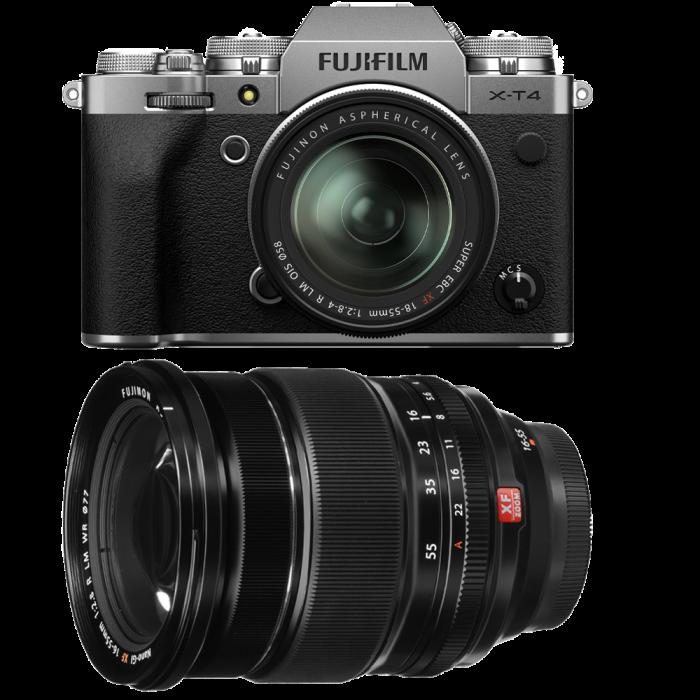 Fujifilm X-T4 Aparat Foto Mirrorless (silver) KIT  XF 18-55mm f/2.8-4 R LM OIS (black) si XF 16-55mm f/2.8 R LM WR 0
