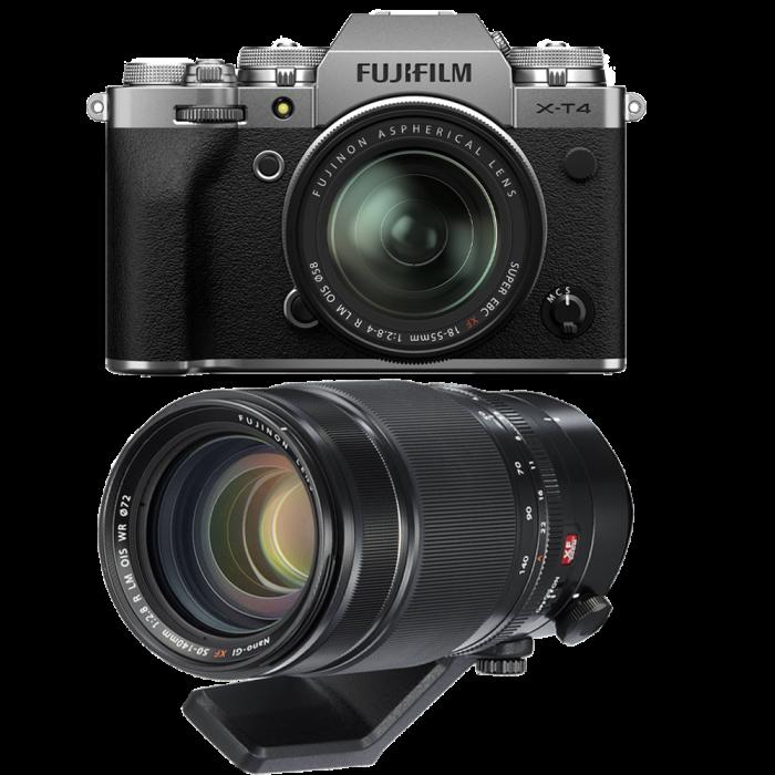 Fujifilm X-T4 Aparat Foto Mirrorless (silver) KIT  XF 18-55mm f/2.8-4 R LM OIS (black) si  XF 50-140mm f/2.8 R LM OIS WR 0