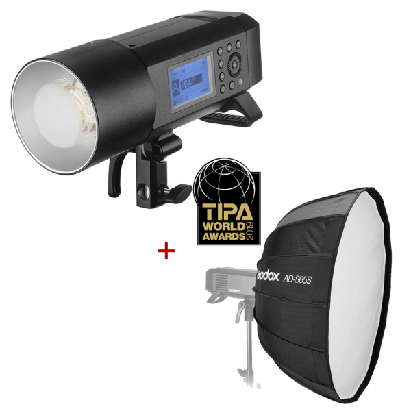 Godox AD400 Pro TTL Witstro - All-In-One Outdoor Flash + softbox Godox AD-S65 0
