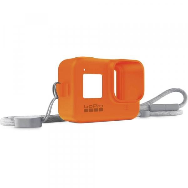 GoPro Sleeve + Lanyard AJSST-004 , husa de silicon + snur reglabil pentru HERO 8 , portocaliu [1]