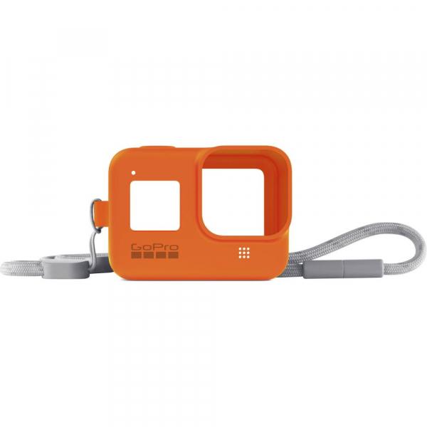 GoPro Sleeve + Lanyard AJSST-004 , husa de silicon + snur reglabil pentru HERO 8 , portocaliu [0]