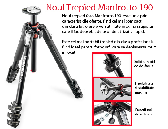 Manfrotto MT190XPRO4 - trepied foto cu 4 sectiuni 3