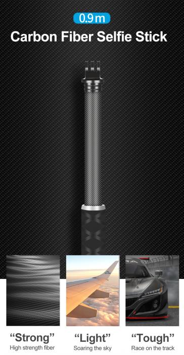 Monopod selfie din fibra de carbon 0.9M pentru Gopro - GP-MNP-90T [0]