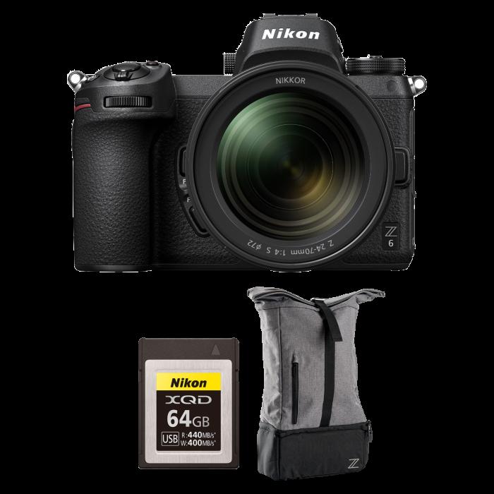 Nikon Z6 kit Nikkor Z 24-70mm f/4 S - Cadou Rucsac Nikon Z si card Nikon XQD 64GB 0