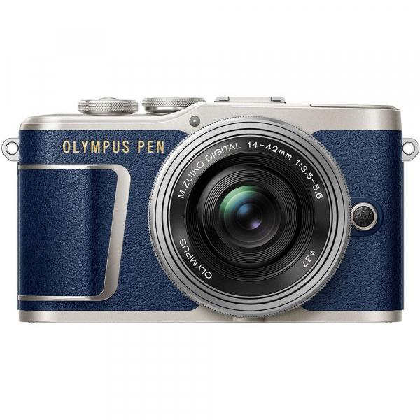 Olympus E-PL9 albastru + EZ-M14-42 EZ Pancake argintiu + curea Hello Peacock - Designer Collection 2