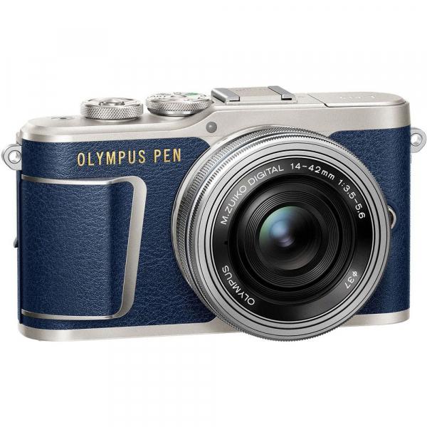 Olympus E-PL9 albastru + EZ-M14-42 EZ Pancake argintiu + curea Hello Peacock - Designer Collection 3