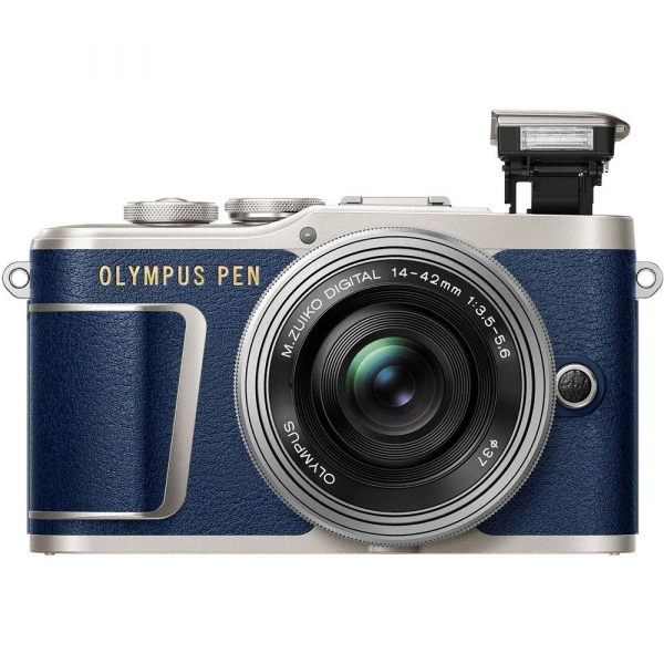 Olympus E-PL9 albastru + EZ-M14-42 EZ Pancake argintiu + curea Hello Peacock - Designer Collection 4