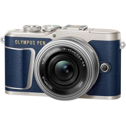 Olympus E-PL9 albastru + EZ-M14-42 EZ Pancake argintiu + curea Hello Peacock - Designer Collection 1