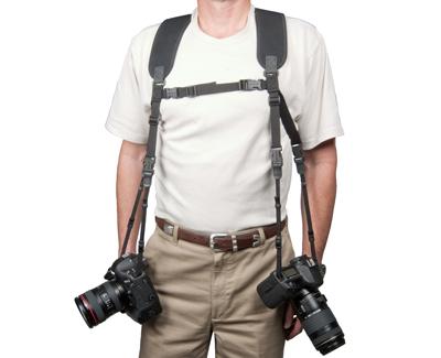 """OP/TECH Dual Harness 3/8"""" Regular black - Ham pentru doua aparate 0"""