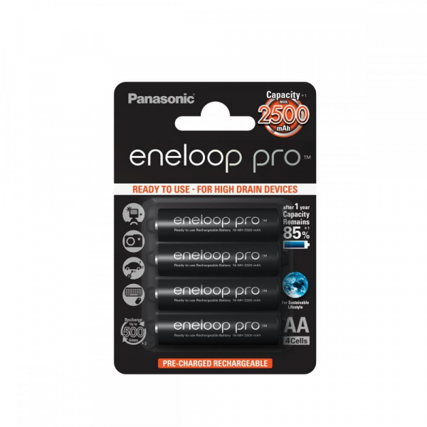 Panasonic Eneloop Pro - acumulatori R6 AA 2500mAh set 4 bucati 0
