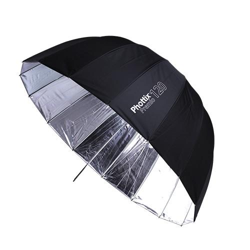 Phottix Premio - umbrela reflexie 120cm Silver/Black + diffuser 0