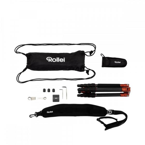 Rollei Compact Traveler No. 1 Carbon - kit trepied + cap cu bila , portocaliu / negru [3]