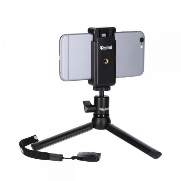 Rollei Smart Photo Selfie Stick cu suport de telefon si mini trepied , argintiu/negru 3