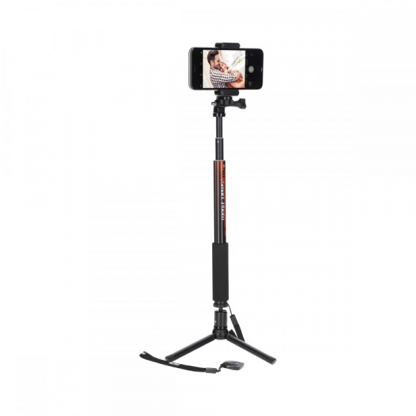 Rollei Smart Photo Selfie Stick cu suport de telefon si mini trepied ,  portocaliu/negru 0