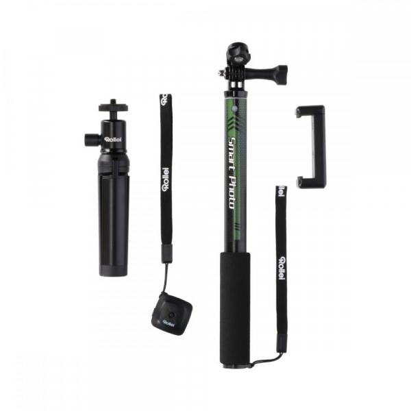 Rollei Smart Photo Selfie Stick cu suport de telefon si mini trepied , verde/negru 1