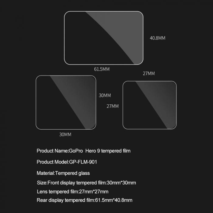 Set folii de protectie pentru ecranele GoPro Hero 9 transparent - negru - GP-FLM-901 [15]
