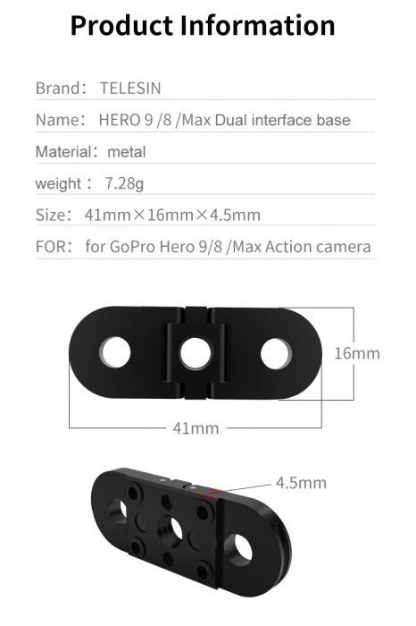 Telesin Bază de interfață dublă din aluminiu pentru GoPro Hero 9 (cu gaura de 14 pe partea de jos) GP-FMS-902 [1]