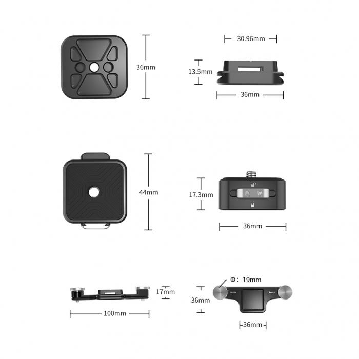 TELESIN Placă cu eliberare rapidă, din aliaj de aluminiu pentru montare pe breteaua rucsacului pentru trepied, DSLR, Camera de acțiune - TE-ZJZ-006 [4]
