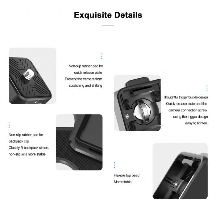 TELESIN Placă cu eliberare rapidă, din aliaj de aluminiu pentru montare pe breteaua rucsacului pentru trepied, DSLR, Camera de acțiune - TE-ZJZ-006 [5]