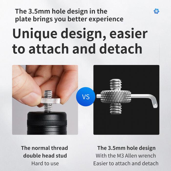 """Telesin  Șurub de aluminiu cu cap dublu 1/4 """" TE-DHS-001 [2]"""