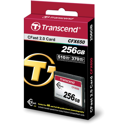 Transcend CFast 2.0 CFX650 256GB, citire 510MB/s, scriere 370MB/s 1