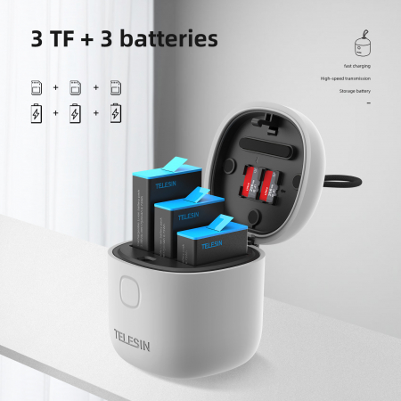 All-in Box Incarcator  & Cititor Card microSD & Cutie de pastrare pentru baterii GoPro Hero9 (fără baterie) - GP-BTR-904 [10]