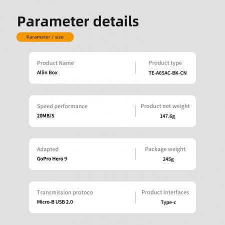All-in Box Incarcator  & Cititor Card microSD & Cutie de pastrare pentru baterii GoPro Hero9 (fără baterie) - GP-BTR-904 [11]