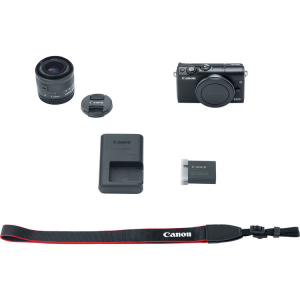 Canon EOS M100 Kit Canon EF-M 15-45mm IS STM + Canon EF-M 22mm , negru11