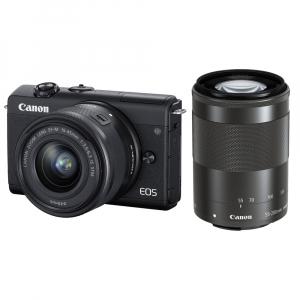 Canon EOS M200 Kit EF-M 15-45mm IS STM + EF-M 55-200mm f/4.5-6.3 IS STM- negru0
