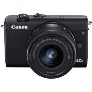 Canon EOS M200 Kit EF-M 15-45mm IS STM + EF-M 55-200mm f/4.5-6.3 IS STM- negru1