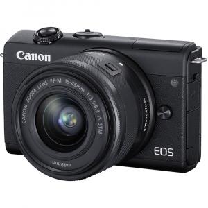 Canon EOS M200 Kit EF-M 15-45mm IS STM + EF-M 55-200mm f/4.5-6.3 IS STM- negru8