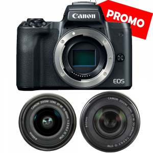 Canon EOS M50 + Canon 15-45mm IS negru EF-M 55-200mm f4.5-6.3 IS STM0