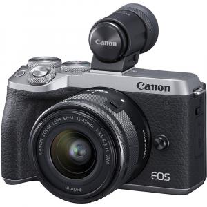 Canon EOS M6 Mark II Kit EF-M 15-45mm IS STM + vizor EVF-DC2- argintiu0