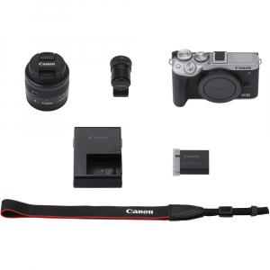 Canon EOS M6 Mark II Kit EF-M 15-45mm IS STM + vizor EVF-DC2- argintiu7