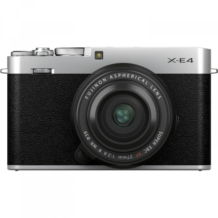 Fujifilm X-E4 , Mirrorless 26MP, 4K body - argintiu + XF 27mm F 2.8 R WR0
