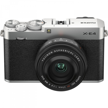 Fujifilm X-E4 , Mirrorless 26MP, 4K body - argintiu + XF 27mm F 2.8 R WR5