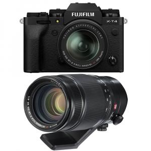 Fujifilm X-T4 Aparat Foto Mirrorless 26.1Mpx 4K/60fps X-Trans CMOS 4K KIT XF 18-55mm f/2.8-4 R LM OIS (black) si XF 50-140mm f/2.8 R LM OIS WR0