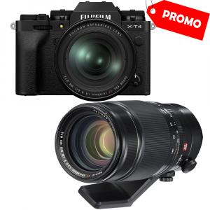 Fujifilm X-T4 (black) kit cu 2 obiective  XF 16-80mm f/4 R OIS WR (black) si XF 50-140mm f/2.8 R LM OIS WR0