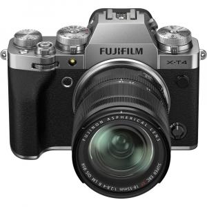 Fujifilm X-T4 Aparat Foto Mirrorless (silver) KIT  XF 18-55mm f/2.8-4 R LM OIS (black) si XF 16-55mm f/2.8 R LM WR7