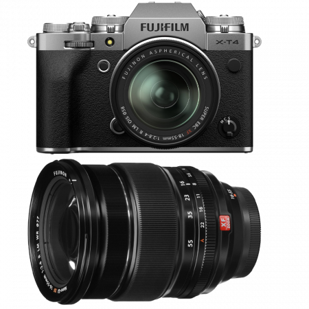Fujifilm X-T4 Aparat Foto Mirrorless (silver) KIT  XF 18-55mm f/2.8-4 R LM OIS (black) si XF 16-55mm f/2.8 R LM WR0
