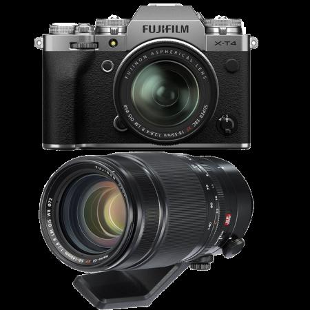 Fujifilm X-T4 Aparat Foto Mirrorless (silver) KIT  XF 18-55mm f/2.8-4 R LM OIS (black) si  XF 50-140mm f/2.8 R LM OIS WR0