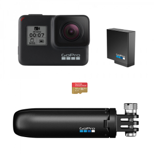 GoPro Hero 7 Black - Special Bundle Kit, Rezistent la apa, 4k60/1080p2400