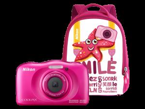 Nikon Coolpix W100 - subacvatic, filmare FHD Kit cu Rucsac -roz0