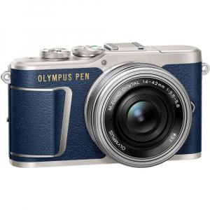 Olympus E-PL9 albastru + EZ-M14-42 EZ Pancake argintiu + curea Hello Peacock - Designer Collection3