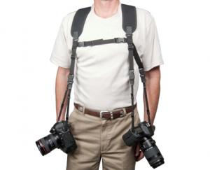 """OP/TECH Dual Harness 3/8"""" Regular black - Ham pentru doua aparate0"""